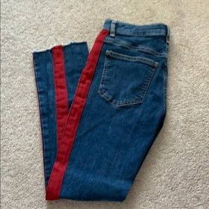 Red side striped jeans